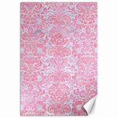 Damask2 White Marble & Pink Watercolor (r) Canvas 20  X 30