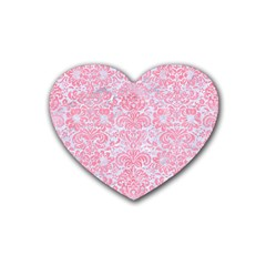 Damask2 White Marble & Pink Watercolor (r) Rubber Coaster (heart)