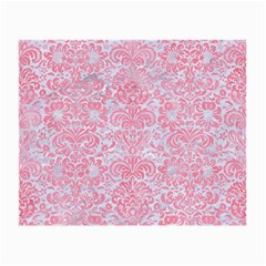 Damask2 White Marble & Pink Watercolor (r) Small Glasses Cloth (2 Side)