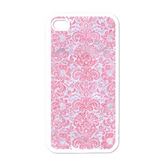 Damask2 White Marble & Pink Watercolor (r) Apple Iphone 4 Case (white)