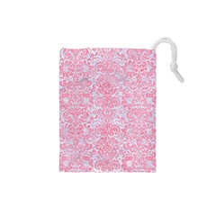 Damask2 White Marble & Pink Watercolor (r) Drawstring Pouches (small)