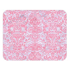 Damask2 White Marble & Pink Watercolor (r) Double Sided Flano Blanket (large)
