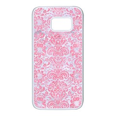 Damask2 White Marble & Pink Watercolor (r) Samsung Galaxy S7 White Seamless Case