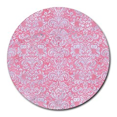 Damask2 White Marble & Pink Watercolor Round Mousepads