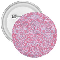 Damask2 White Marble & Pink Watercolor 3  Buttons