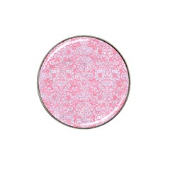 Damask2 White Marble & Pink Watercolor Hat Clip Ball Marker