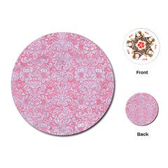 Damask2 White Marble & Pink Watercolor Playing Cards (round)