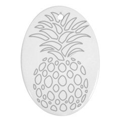 Pinapplesilvergray Oval Ornament (two Sides)