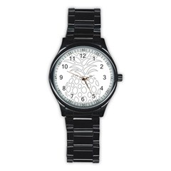 Pinapplesilvergray Stainless Steel Round Watch