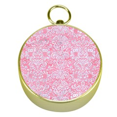 Damask2 White Marble & Pink Watercolor Gold Compasses
