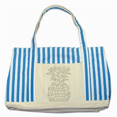 Pinapplesilvergray Striped Blue Tote Bag