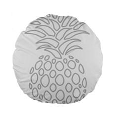 Pinapplesilvergray Standard 15  Premium Flano Round Cushions