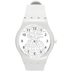 Pinapplesilvergray Round Plastic Sport Watch (m)