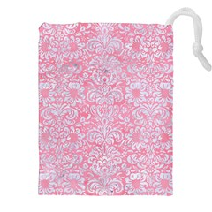 Damask2 White Marble & Pink Watercolor Drawstring Pouches (xxl)