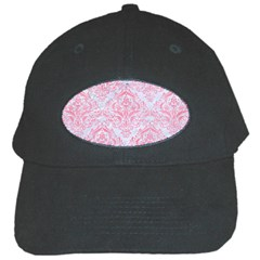 Damask1 White Marble & Pink Watercolor (r) Black Cap