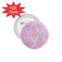 Damask1 White Marble & Pink Watercolor (r) 1 75  Buttons (100 Pack)