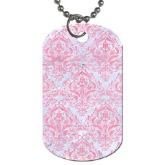 Damask1 White Marble & Pink Watercolor (r) Dog Tag (one Side) by trendistuff