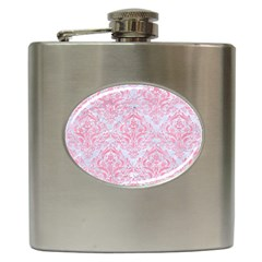 Damask1 White Marble & Pink Watercolor (r) Hip Flask (6 Oz)