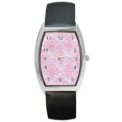Damask1 White Marble & Pink Watercolor (r) Barrel Style Metal Watch