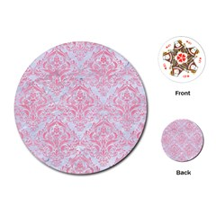 Damask1 White Marble & Pink Watercolor (r) Playing Cards (round)