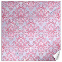 Damask1 White Marble & Pink Watercolor (r) Canvas 12  X 12   by trendistuff