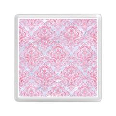 Damask1 White Marble & Pink Watercolor (r) Memory Card Reader (square)