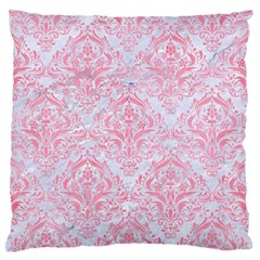 Damask1 White Marble & Pink Watercolor (r) Large Flano Cushion Case (two Sides)