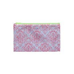 Damask1 White Marble & Pink Watercolor (r) Cosmetic Bag (xs)