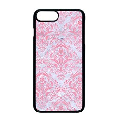 Damask1 White Marble & Pink Watercolor (r) Apple Iphone 7 Plus Seamless Case (black)