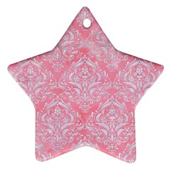 Damask1 White Marble & Pink Watercolor Ornament (star)