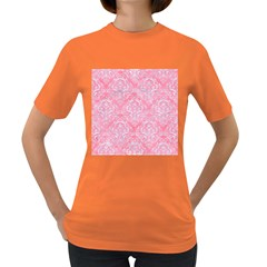 Damask1 White Marble & Pink Watercolor Women s Dark T Shirt