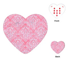 Damask1 White Marble & Pink Watercolor Playing Cards (heart)  by trendistuff