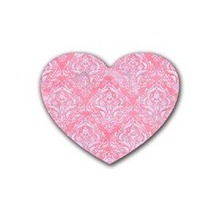 Damask1 White Marble & Pink Watercolor Heart Coaster (4 Pack)