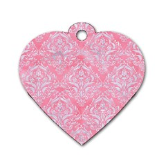 Damask1 White Marble & Pink Watercolor Dog Tag Heart (one Side)