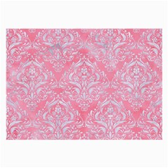 Damask1 White Marble & Pink Watercolor Large Glasses Cloth