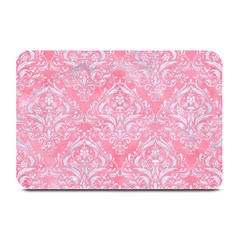 Damask1 White Marble & Pink Watercolor Plate Mats