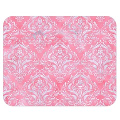 Damask1 White Marble & Pink Watercolor Double Sided Flano Blanket (medium)