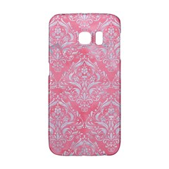 Damask1 White Marble & Pink Watercolor Galaxy S6 Edge
