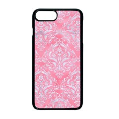 Damask1 White Marble & Pink Watercolor Apple Iphone 7 Plus Seamless Case (black)