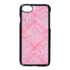 Damask1 White Marble & Pink Watercolor Apple Iphone 8 Seamless Case (black) by trendistuff