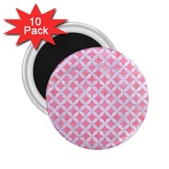 Circles3 White Marble & Pink Watercolor 2 25  Magnets (10 Pack)