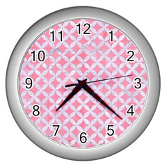 Circles3 White Marble & Pink Watercolor Wall Clocks (silver)