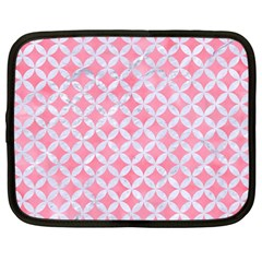 Circles3 White Marble & Pink Watercolor Netbook Case (large) by trendistuff