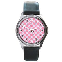 Circles2 White Marble & Pink Watercolor (r) Round Metal Watch