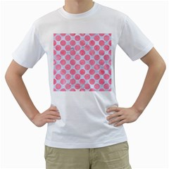 Circles2 White Marble & Pink Watercolor (r) Men s T Shirt (white) (two Sided)