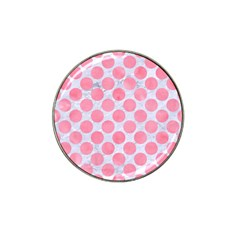 Circles2 White Marble & Pink Watercolor (r) Hat Clip Ball Marker