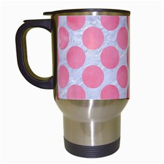 Circles2 White Marble & Pink Watercolor (r) Travel Mugs (white) by trendistuff