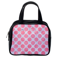 Circles2 White Marble & Pink Watercolor (r) Classic Handbags (one Side)