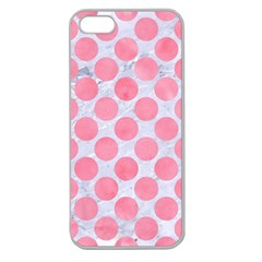 Circles2 White Marble & Pink Watercolor (r) Apple Seamless Iphone 5 Case (clear)