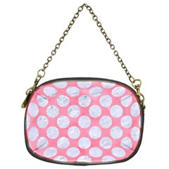 Circles2 White Marble & Pink Watercolor Chain Purses (one Side)  by trendistuff